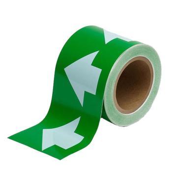 安赛瑞 管道流向箭头带-绿,高性能自粘性材料,100mm宽×27m长,33520