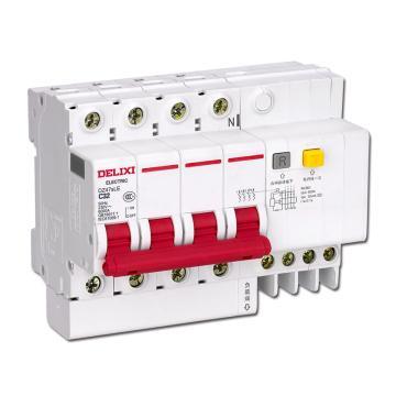德力西DELIXI 微型漏电保护断路器,DZ47sLE 4P D50A 50mA,DZ47SLEN4D50R50