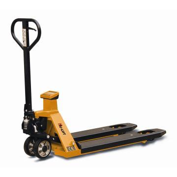 虎力 电子称重液压搬运车,额定载重:2T,货叉尺寸:690*1150mm,PU双轮/橡胶大轮黄色
