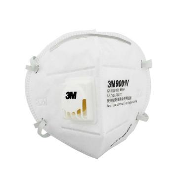 3M 防尘口罩,9001V,KN90 折叠式带阀耳戴式,环保包装 25只/盒