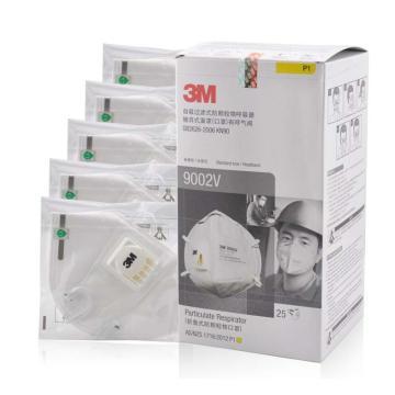 3M 防尘口罩,9002V,KN90 折叠式带阀头戴式,精装 25个/盒