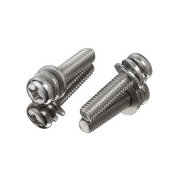GB9074.8十字槽小盤頭三組合螺絲,M3-0.5X12,SUS304,200個/包
