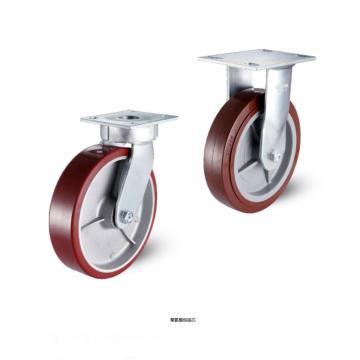 科顺 200聚氨酯底板型抗冲击固定脚轮,轴承 滚柱,6-8278-929
