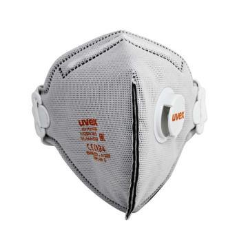 UVEX silv-Air 3220 FFP2折叠式带阀除异味防尘口罩,银灰色,1个
