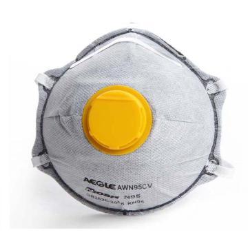 羿科N95头戴式碗型活性炭带阀口罩,10只/盒,60403226