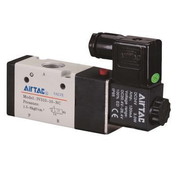 亚德客AirTAC 3通电磁阀,常闭型,AC220V,3V310-08-NC-A