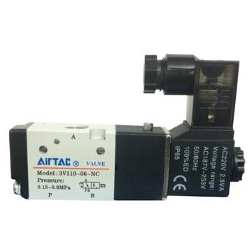 亚德客AirTAC 单控3通电磁阀,常闭型,AC220V,3V110-06-NC-A