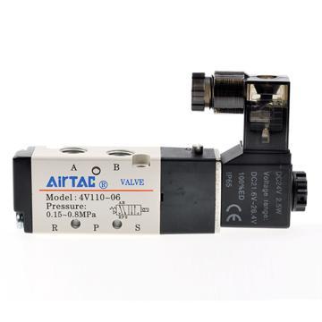 亚德客单控5通电磁阀,DC24V,4V110-06-B