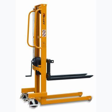 虎力 手摇式堆高车,额定载重0.5T,货叉最大/最小高度(mm):1560/90,可调货叉尺寸(mm):(160~690)*800,黄色