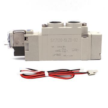 SMC 电磁阀,两位五通单电控,L形插座式(300mm),DC24V,SY3120-5LZE-M5