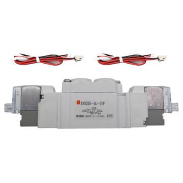 SMC 电磁阀,三位五通中封式,L形插座式(300mm),DC24V,SY7320-5LZD-02