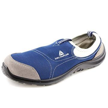 代尔塔 毛面牛皮帮面安全鞋 防砸防刺穿防静电,蓝色,37,301216