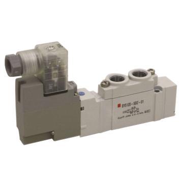 SMC 电磁阀,两位五通单电控,DIN插座式(带插头),DC24V,SY7120-5DZD-02