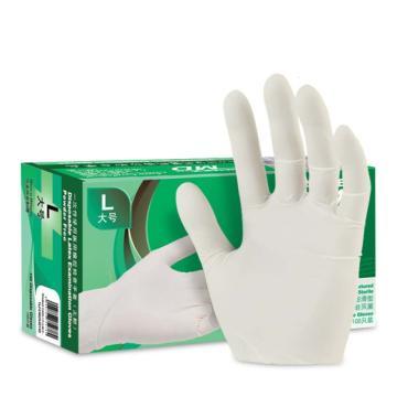 爱马斯AMMEX 无粉一次性手套,TLFCMDX42100,橡胶材质 (加厚型 无粉掌麻S,100只/盒 10盒/箱