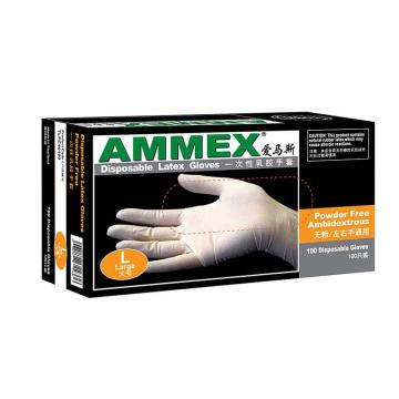 AMMEX一次性无粉掌麻乳胶手套,大号,100只/盒