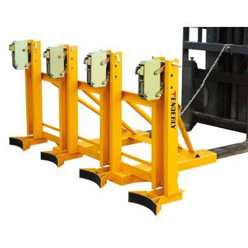 泰得力 叼扣式叉车专用油桶搬运夹(经济通用型),额定载重:1440Kg(总共),水平4桶,360Kg*水平4桶叉车属具