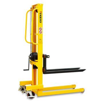 泰得力 手摇式堆高车 ,0.5T 1.56m 可调叉宽160~690×1000mm 黄色