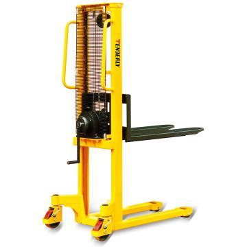 手摇式堆高车,1T  1.5m 固定叉宽540×1150mm 黄色