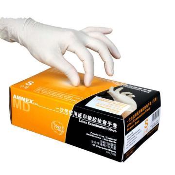 Ammex一次性医用橡胶检查手套 (耐用型),无粉掌麻,S,100只/盒,10盒/箱