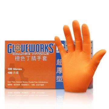 AMMEX一次性无粉掌麻橙色超厚丁晴手套,大号,1000只/箱