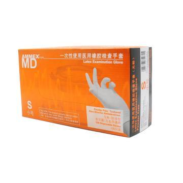 爱马斯AMMEX 无粉一次性手套,TLFCMDi42100,橡胶材质 (耐用型 无粉掌麻S,100只/盒 10盒/箱