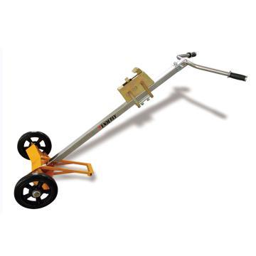 油桶搬运小车,450Kg 2轮型,黄色底座,镀铬手把, Φ250mm橡胶大轮,鹰嘴高度可按桶高调节