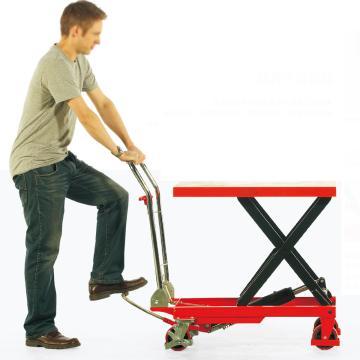 诺力 脚踏式升降平台车(颜色:红黄随机,重型),载重:150kg,台面:700×450mm,起升范围:220-720mm