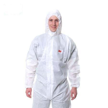 3M 欧标5级防化服,4515-L,白色带帽连体防护服