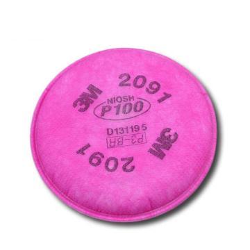 3M 2091 P100颗粒物滤棉,2片/包