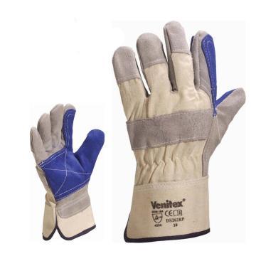 代尔塔DELTAPLUS 半皮手套,204202-10,双层牛皮手套 DS202