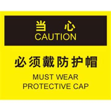 安赛瑞 OSHA当心标识-必须戴防护帽,ABS板,250×315mm,33133