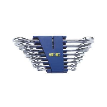 长城精工 呆扳手套装,8pcs公制镜抛平板双 6*7-22*24mm,324108