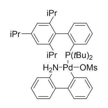 CAS:1447963-75-8|甲烷磺酸(2-二叔丁基膦基-2',4',6'-三异丙基-1,1'-联苯基)(2'-氨基-1,1'-联苯-2-基)钯(II)TBUXPHOSPDG3|98%|600873-500mg