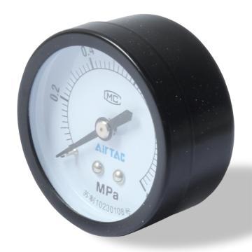 亚德客AirTAC 标准安装压力表,表盘50MM,测压范围0-0.4Mpa,F-GS5004M