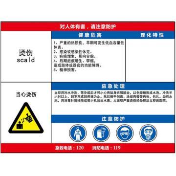 安赛瑞 职业病危害告知卡-烫伤,ABS板,600×450mm,14621