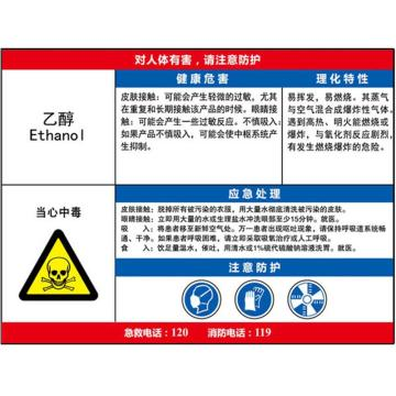 职业病危害告知卡(乙醇)-ABS板,600×450mm,14615