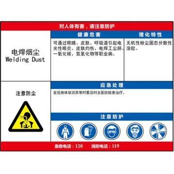 职业病危害告知卡(电焊烟尘)-ABS板,600×450mm,14606