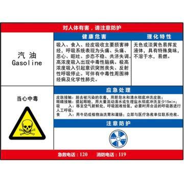 安赛瑞 职业病危害告知卡-汽油,ABS板,600×450mm,14604