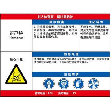 职业病危害告知卡(正己烷)-ABS板,600×450mm,14602
