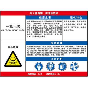 安赛瑞 职业病危害告知卡-一氧化碳,ABS板,600×450mm,14601