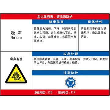 职业病危害告知卡(噪声)-ABS板,600×450mm,14598