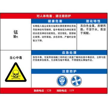 安赛瑞 职业病危害告知卡-锰,ABS板,600×450mm,14596