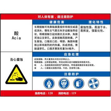 安赛瑞 职业病危害告知卡-酸,ABS板,600×450mm,14595