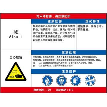 安赛瑞 职业病危害告知卡-碱,ABS板,600×450mm,14594