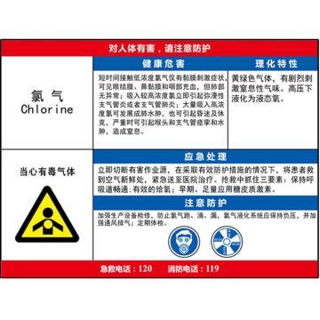 安赛瑞 职业病危害告知卡-氯气,ABS板,600×450mm,14590