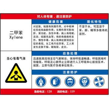职业病危害告知卡(二甲苯)-ABS板,600×450mm,14588