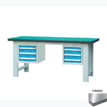 锐德 50mm不锈钢桌面双吊3抽柜重型工作桌, 1800W*750D*800H 载重:1000kg,不含安装费,安装费请另询