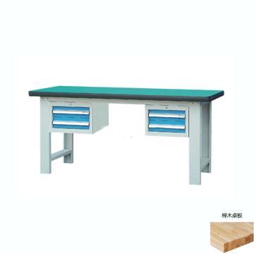 锐德 50mm榉木桌面双吊2抽柜重型工作桌, 2100W*750D*800H 载重:1000kg,不含安装费,安装费请另询