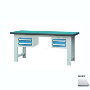 锐德 50mm铁板桌面双吊2抽柜重型工作桌, 2100W*750D*800H 载重:1000kg,不含安装费,安装费请另询