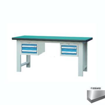 锐德 50mm不锈钢桌面双吊2抽柜重型工作桌, 2100W*750D*800H 载重:1000kg,不含安装费,安装费请另询